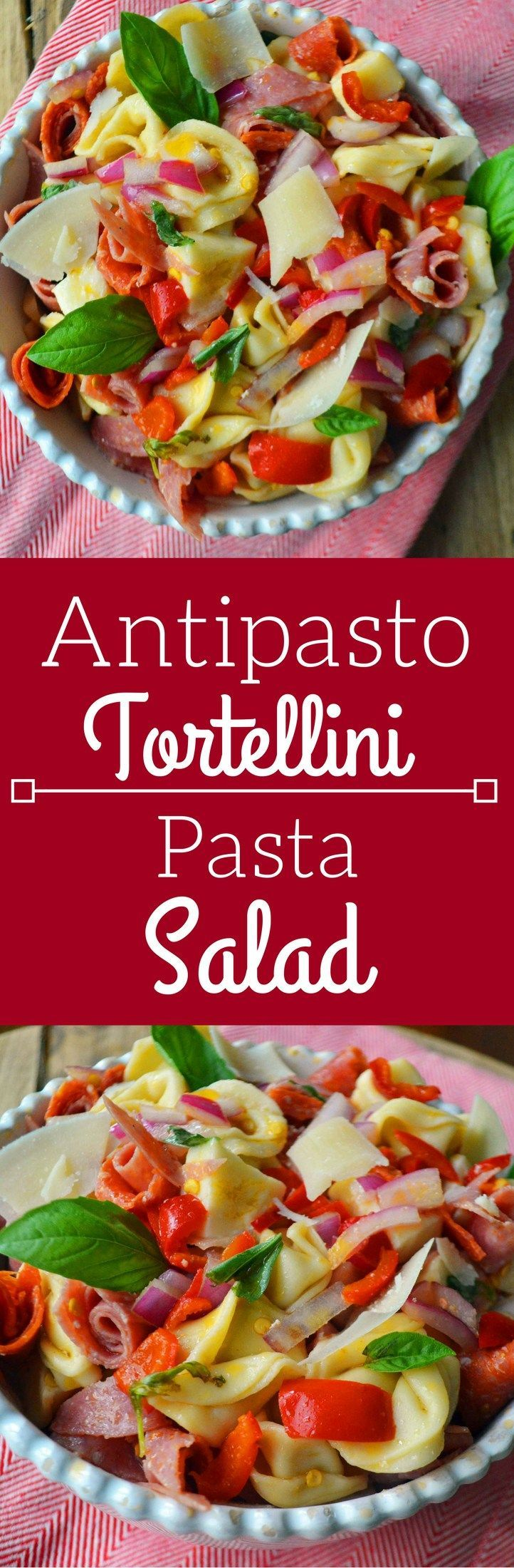 Antipasto Tortellini Pasta Salad. This Antipasto Tortellini Pasta Salad starts off with creamy cheese tortellini topped with Genoa salami, pepperoni, fresh mozzarella, roasted red peppers, red onion, fresh basil, and finished off with an olive oil and red