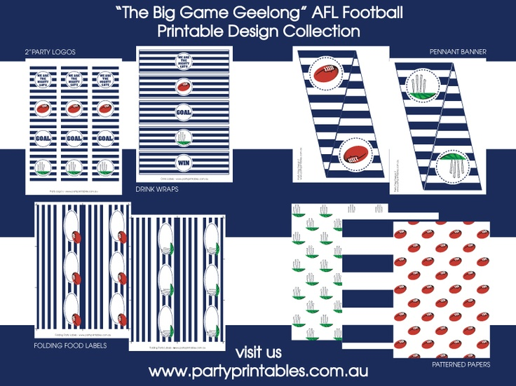 Geelong Football Party Printable Collection