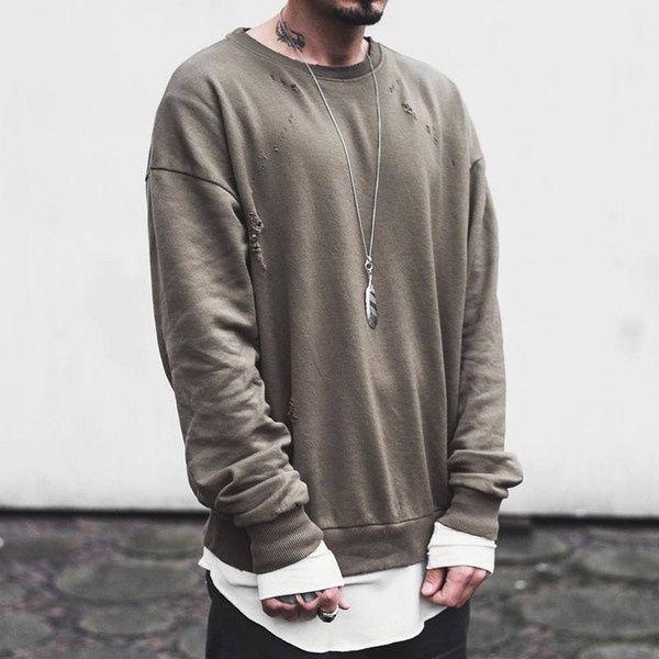 Men Streetwear Season Pullover Men Sweat Green Ripped Oversized Mens Crew Neck Sweatshirt Clothing