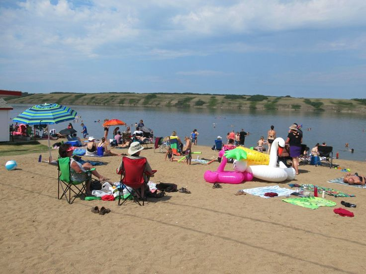 In summer local residents flock to Manitou Beach on Little Manitou Lake in central Saskatchewan, Canada. The lake water is three times saltier than the world's oceans.