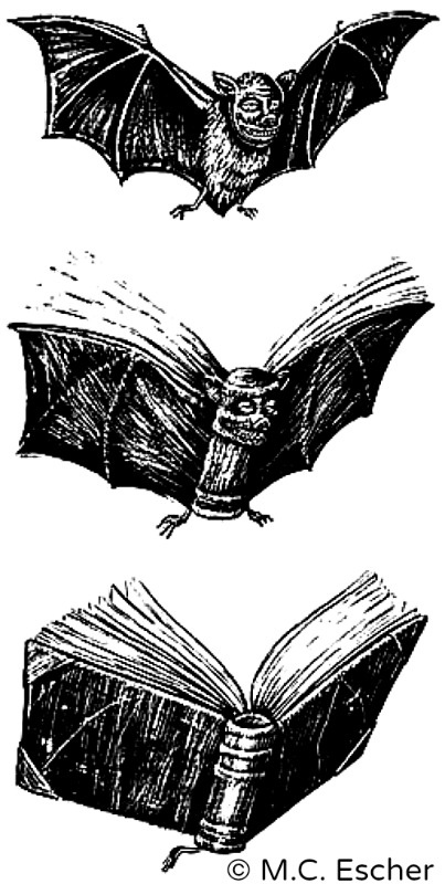 © Estate of M.C. Escher (Artist. Dutch, 1898-1972). Bat to Book Metamorphosis.