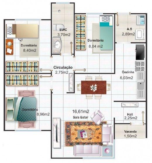 Dise o de casa peque a y moderna de tres dormitorios for Planos casas pequenas