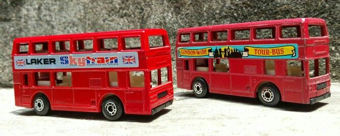 Matchbox London Bus Lesney England (front) and Made in China (rear)