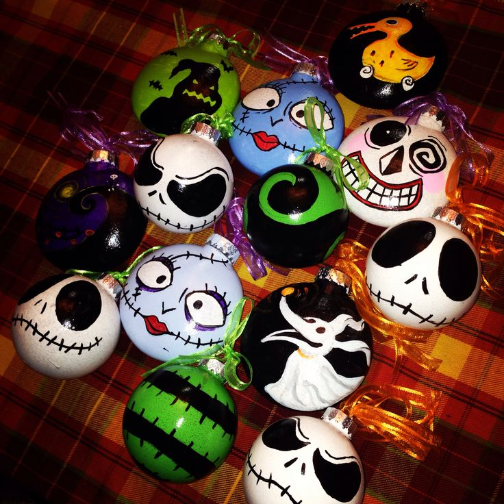 Hand painted nightmare before christmas tree ornaments :)