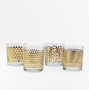 Metallic Print Glassware Set, Gold - contemporary - cups and glassware - West Elm