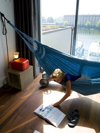An indoor hammock?? I should have thought about this before. Definitely going to set this up when I get my house...