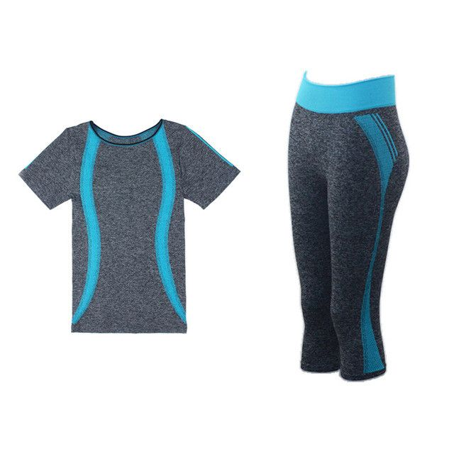 BINAND Yoga Sports Suit For Momen Jogging T-Shirts Capri Tights Running Top Training Pants Gym Tracksuit 2 Piece Sets