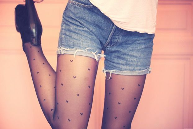 Heart tights under jean shorts <3 If my legs were thinner i would totally do this