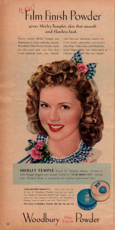 craparoundthehouse46: Modern Screen February 1945 Shirley Temple for Woodbury Film Finish Powder For that smooth and flawless look