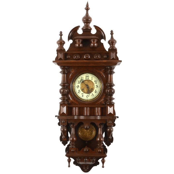 antique german victorian wall clock in walnut renaissance revival style with porcelain dial and key wind