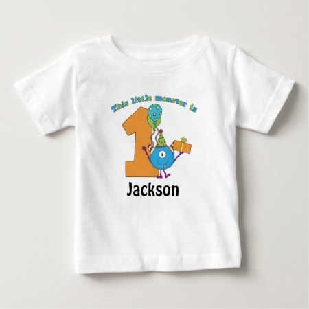 Little Monster Kids 1st Birthday Personalized Baby T-Shirt - click to get yours right now!