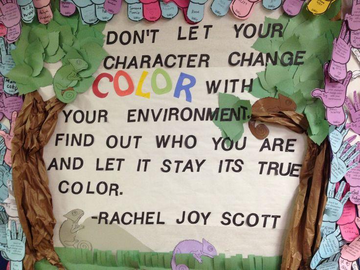 Rachel's challenge bulletin board.