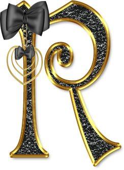 Alfabeto Negro con Orilla Dorada.