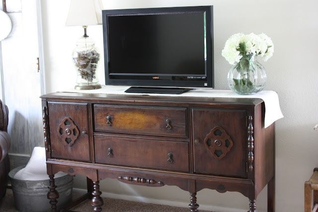 television console decor | Antique buffet as TV console | Furniture and Decor