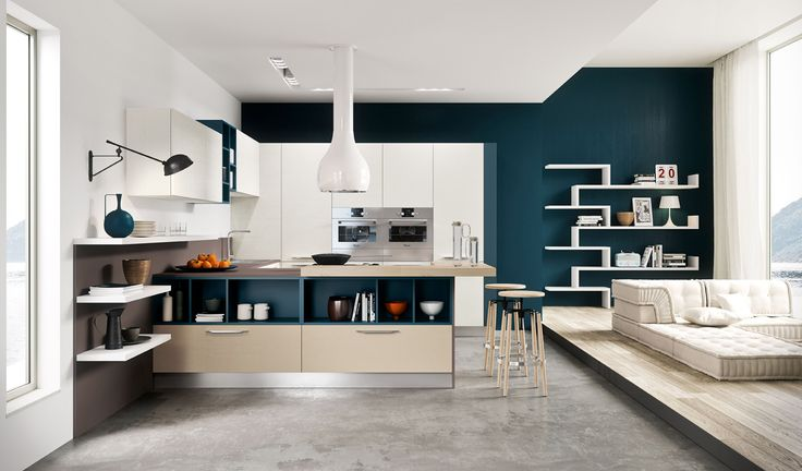 Kitchen Teal Accent Wall Also White Teal Kitchen Cabinet Breakfast Bar Plus Cool Bar Stools Besides Floating Rack And Bookcase And Cream Tufted Sofa With Wooden Laminated Floor Also Concrete Floor Plus White Kitchen Hood Besides Recessed Downlight With Industrial Wall Light Awesome Modern Kitchen Designs That Pop