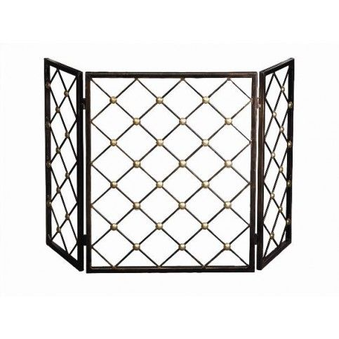 THE WELL APPOINTED HOUSE - Bronze Button Fire Screen with Brass Accents - one of our favorites!!