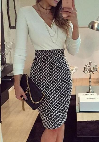 White-Black Mosaic Print V-neck Bodycon Fashion Las Vegas Club Party Midi Dress