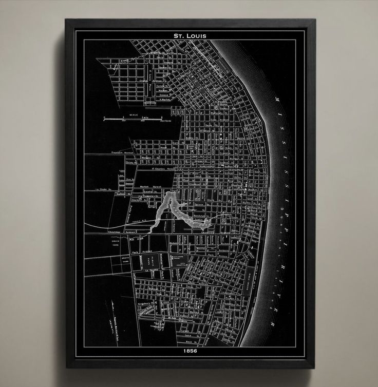 Chicago Map Grid%0A Map Print  ST  LOUIS