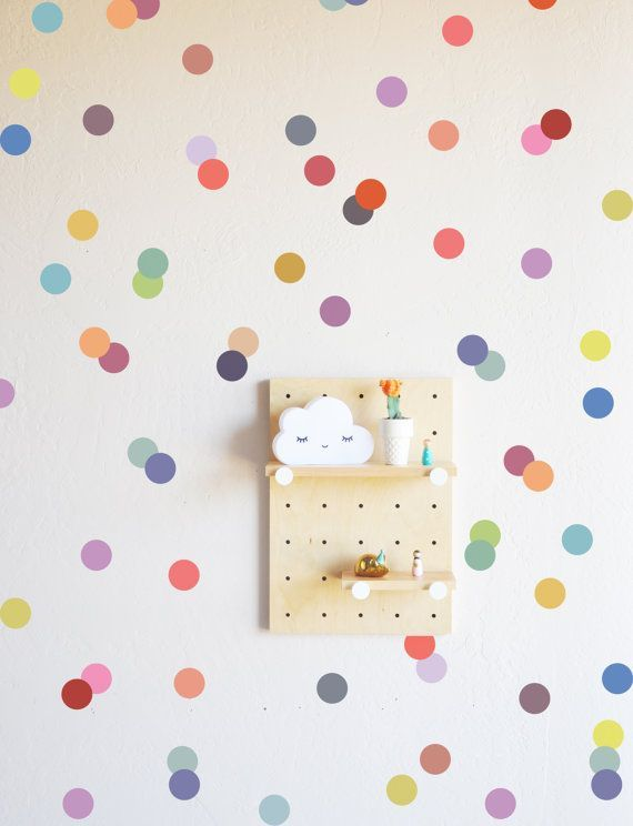 Muted Rainbow Confetti Dots Wall Decal by TheLovelyWall on Etsy