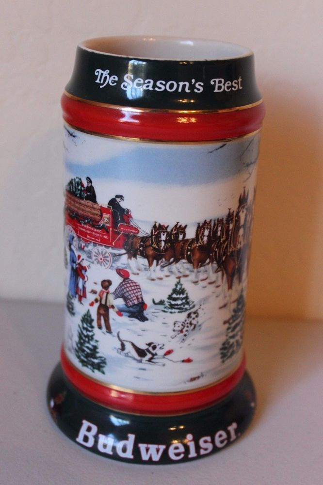 Budweiser Stein 1991 Holiday Series Mug -  The Seasons Best - Clydesdales
