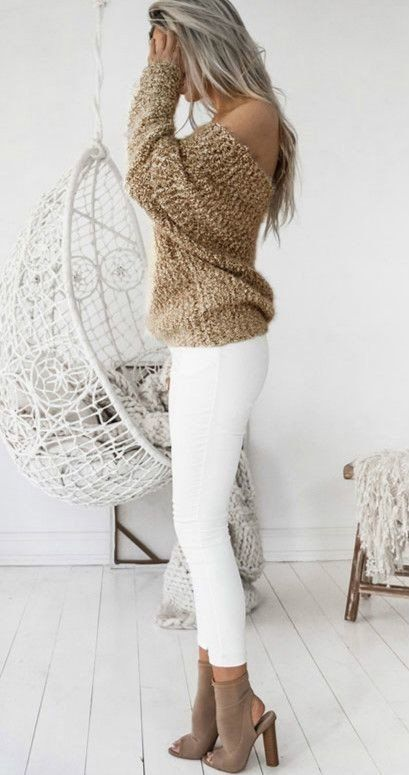 White leggings + gold sweater