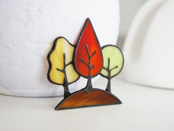 Stained Glass Brooch Autumn Forest Tiffany by LumiereStudio