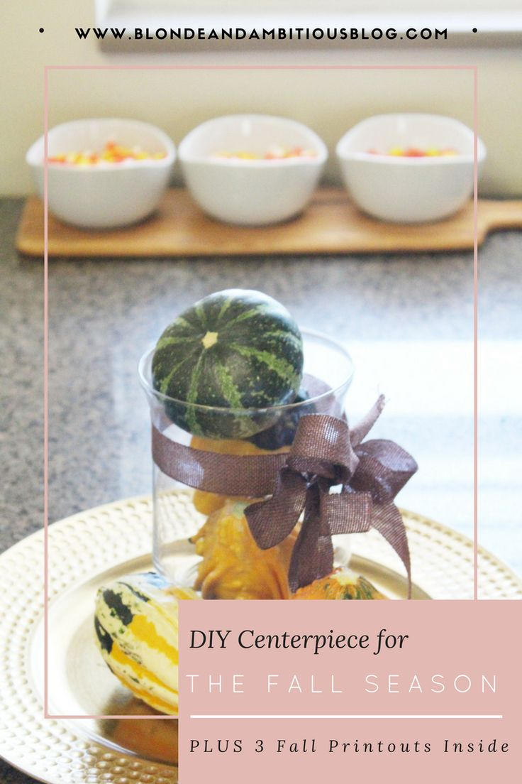 Looking for an easy DIY fall centerpiece to spice up your home for this season?? Click here to get a full tutorial PLUS 3 easy and free printables!