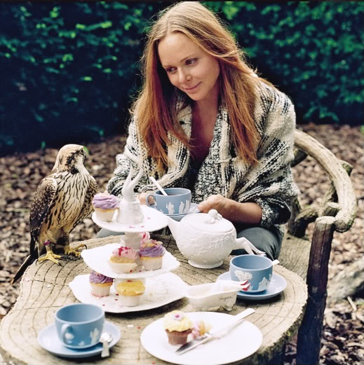 Tea with Stella. Not a big fan of her clothes, but I love her taste in tea cups! via Denise Dag....(I love her pet falcon!)