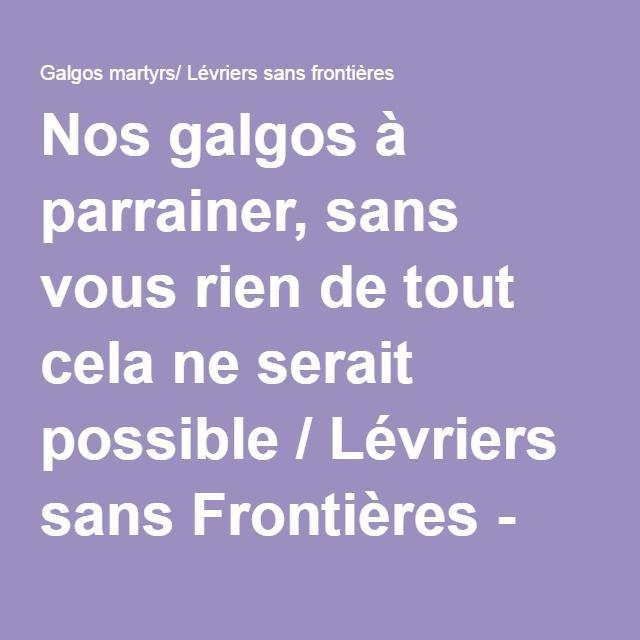 Nos galgos à parrainer, sans vous rien de tout cela ne serait possible / Lévriers sans Frontières - Galgos martyrs/ Lévriers sans frontières