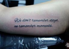 Innovative Literary Quote Tattoo on Forearm