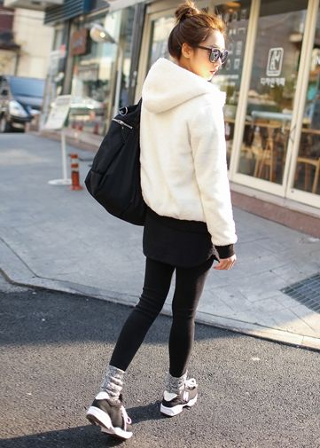 Korea Woman Big size clothing shop. [Jstyle] Sweetie Wool Training Chi-Prin / Size : L,XL / Price : 36.97 USD #JSTYLE #OOTD #bigsize #plussize#trainingwear