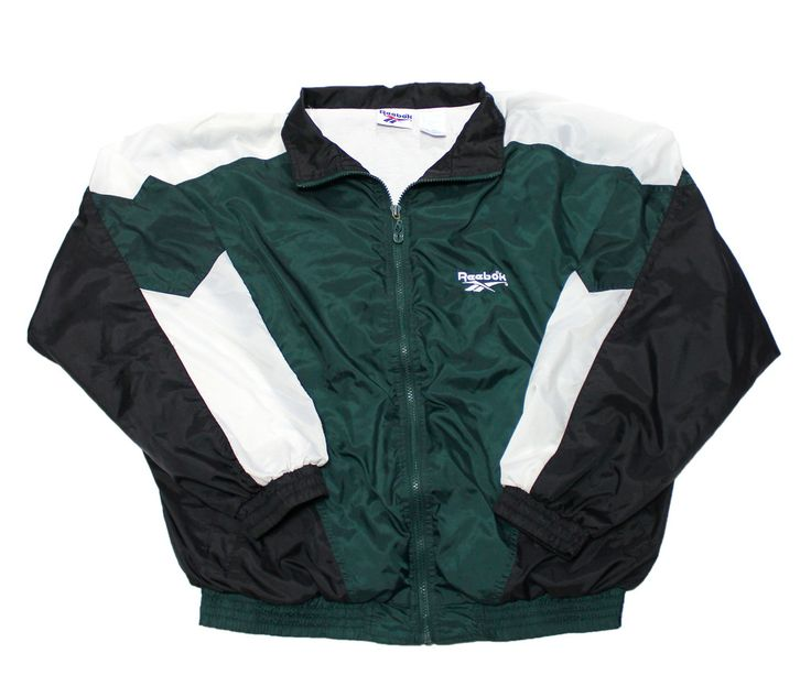 e29ccd98da270 Vintage 90s Reebok Windbreaker Jacket Green/White/Black Mens Size ...