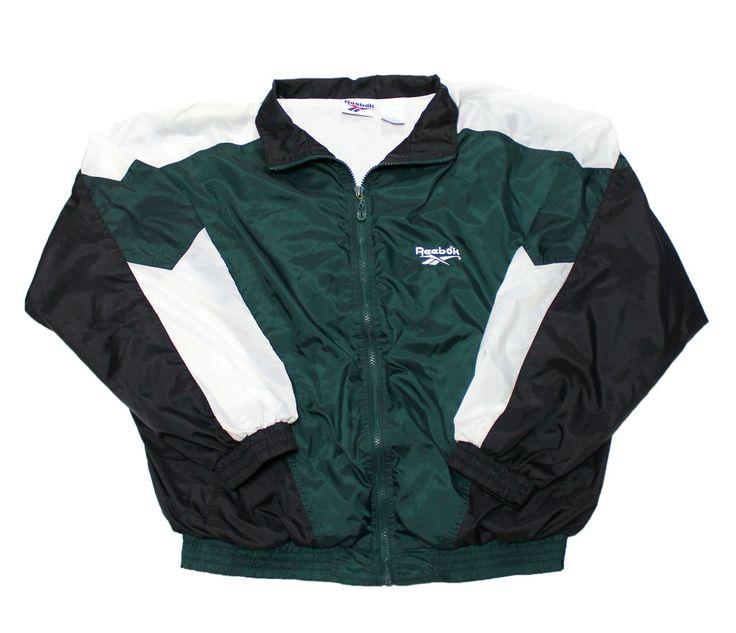 vintage 90s reebok windbreaker jacket green white black. Black Bedroom Furniture Sets. Home Design Ideas