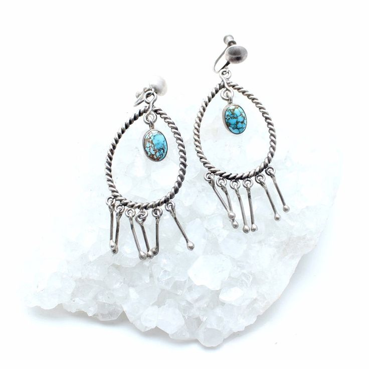 Falling Rain Vintage Turquoise Earrings - Child of Wild  - 2