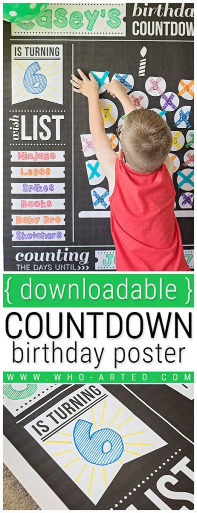 Where we found our { free downloadable } birthday countdown poster! It was a hit! http://www.who-arted.com/2017/06/18/birthday-countdown-poster/