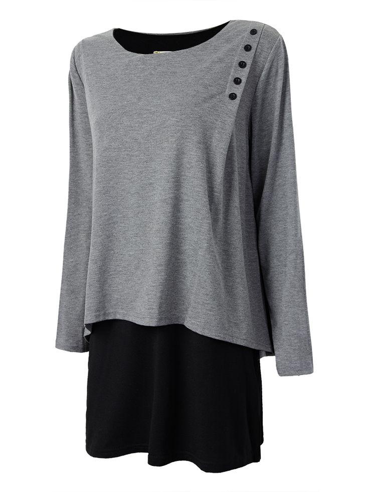 Casual Plus Size Women Long Sleeve Patchwork Irregular Hem ...