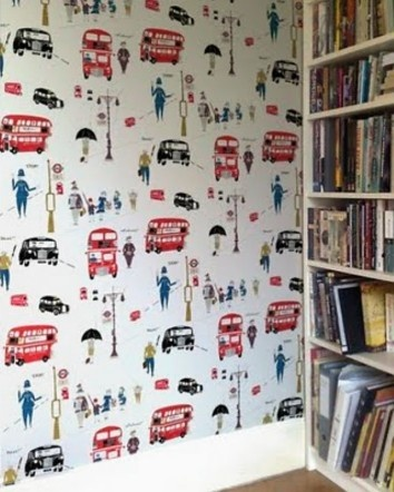 London wallpaper. my kids WILL have this in their room...
