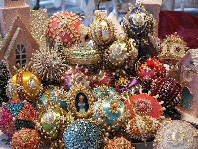 Vintage Lot 25 Handmade Aqua Pink Beaded Sequin Christmas Ornaments