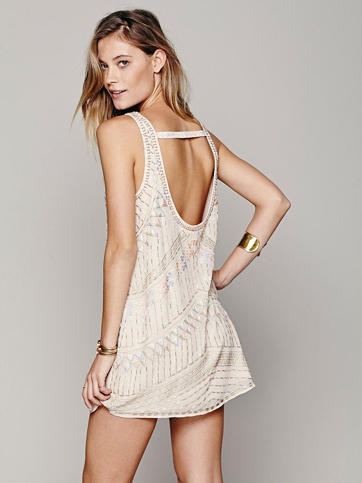 Free People Tribal Arrows Embellished Shift in white, from the back. Gorgeous!
