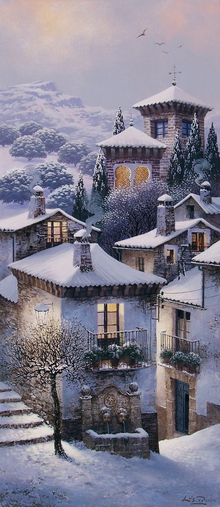 Spanish village in the snow