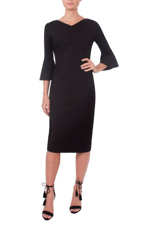 9 To 5 Style | Black Flared Sleeve Dress