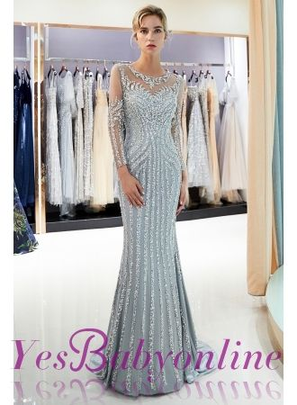 Mermaid Sequined Pattern Long Sleeves Prom Dress  486c5ec22178