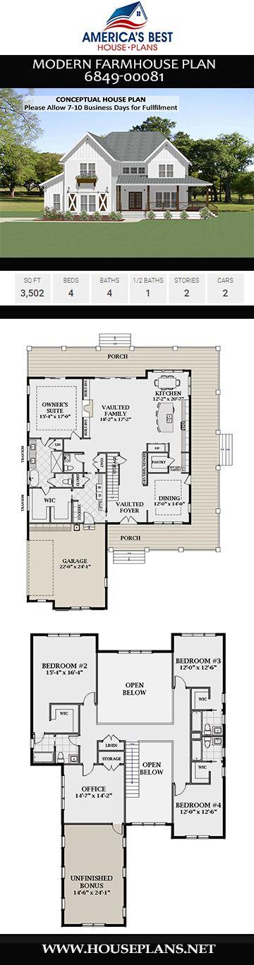 Modern Farmhouse Plan 6849-00081
