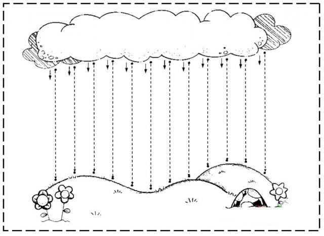 Rain Showers tracing worksheet - Diagonal lines