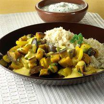 Auberginen-Minz-Gemüse mit Couscous