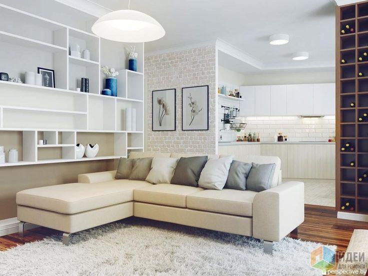 Дизайн интерьера гостиной, светлая гостиная, белый угловой диван