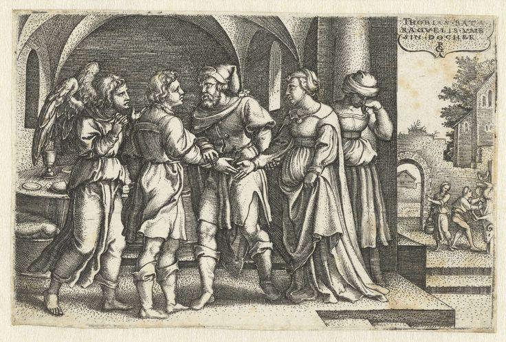 Georg Pencz | Huwelijk van Tobias en Sara, Georg Pencz, 1543 | Raguel geeft Tobias de hand van zijn dochter Sara om haar tot vrouw te nemen (Tobit 7:12). Sara's moeder staat te huilen en buiten wordt ter ere van Tobias komst een ram geslacht.