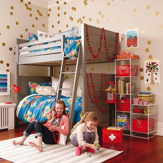 Floral Bedding, Gold Wall Dot Decals and Red Accents