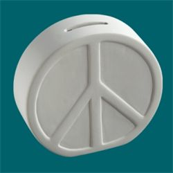 Pottery Peace Sign Bank