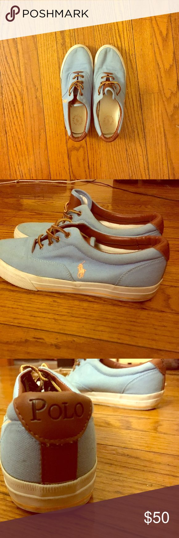 Ralph Lauren Polo Shoes Great condition Authentic polo shoes, comfortable pair to wear casually or to dress up with. Beautiful baby blue color! Great deal Ralph Lauren Shoes Flats & Loafers